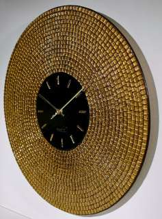 GOLD mosaic ART GLASS Wall Clock ART DECO Style Design