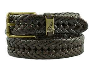 Nautica Mens Brown Braided Leather Belt  Sizes 34   42