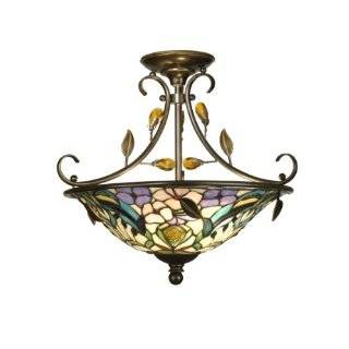 Dale Tiffany TH90212 Crystal Peony Semi Flush Mount Light, Antique