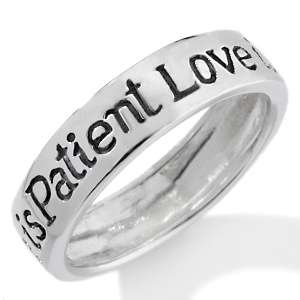 Sterling Silver Love is Patient, Love is Kind Engraved Ring