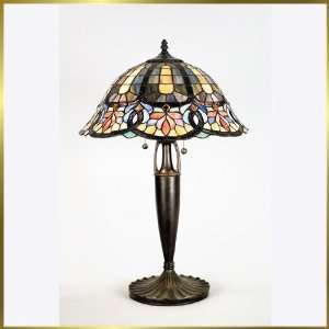 Tiffany Table Lamp, QZTF6727VB, 2 lights, Antique Bronze, 16 wide X