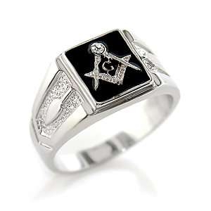 MENS RING   Black Enamel Mens Ring Jewelry