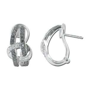 14K White Gold Black Diamond Diamond Earrings Diamond quality AA (I1