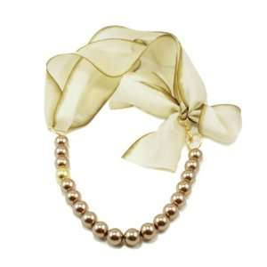 Sparkling Sage Mocha Pearl With Bow Gold Tone Necklace Jewelry