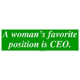 womans favorite position is CEO. Large Bumper Sticker Automotive