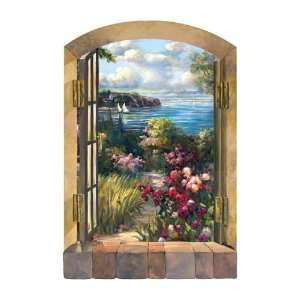 BEACH GARDEN BY THE SEA Window Wallpaper Mural