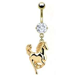 Dangling Gold Plated Galloping Horse Belly Button Navel Ring Dangle