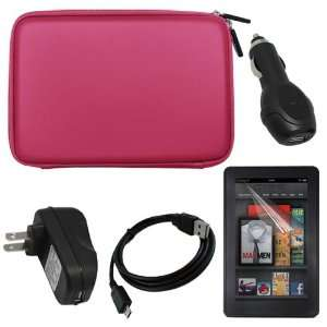 Home Wall Charger Adapter + USB Car Charger Adapter + Pink EVA Shell