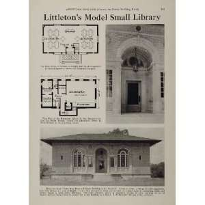 Library Building Floor Plan   Original Halftone Print