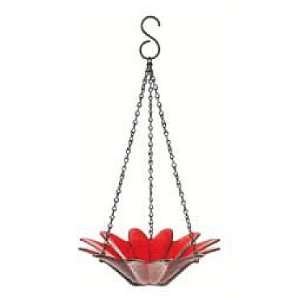 Hanging Colored Glass Bowl Bird Feeder Garden Home Accent 1pc G97 Red