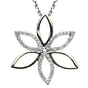 14k Two tone Gold Diamond Floral Pendant with Chain 16 (0