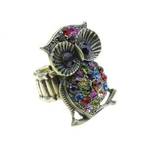 Antique Goldtone Multi Color Crystal Owl Lovers Stretch Ring Jewelry