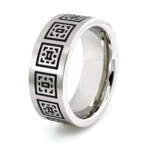 Stainless Steel Ring w/ Greek Pattern Design (Size 14) Available Size
