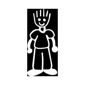 Spiked hair dad Stick Figure Family stick em up White vinyl Die Cut