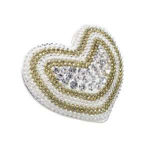 Pave Heart Ring With White and Gold Beads and Clear Crystals in Center
