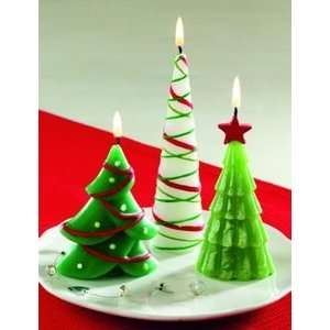 Set 3 Whimsical Christmas Tree Shaped Pillar Candles