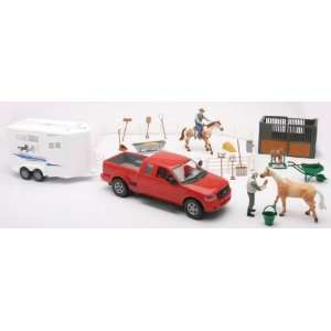 Horse Riding Academy Playset with Pickup, Horses, Stable, Trailer