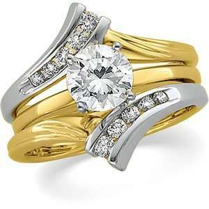 14K Two Tone Gold Bridal Ring Guard