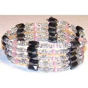 SILVER CLEAR CRYSTAL Magnetic Bracelet HOT PINK