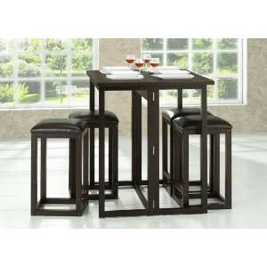 Furniture  Leeds Brown Wood Collapsible Pub Table Set