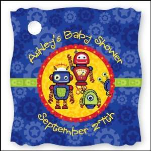 Robots   20 Personalized Baby Shower Die Cut Card Stock Tags Toys