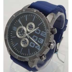 style LOOK XL Black Dial Mens watch DZ4216 Look With Blue Rubber Band