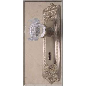 24% Lead Crystal EGG & DART Passage Door Knob Set with handcrafted