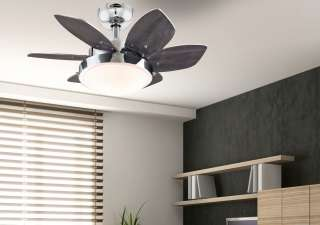 Six Blade Indoor Ceiling Fan, Chrome with Opal Frosted Glass Home