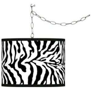 Swag Style Safari Zebra Giclee Shade Plug In Chandelier