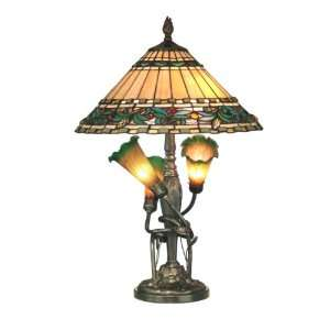 Tiffany TT10338 Tiffany Table Lamp, Antique Bronze and Art Glass Shade