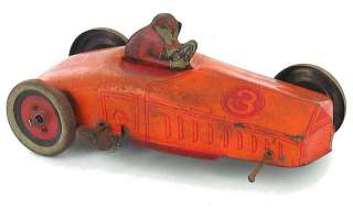 TWO ANTIQUE TIN TOYS DUMP TRUCK WIND UP RACE CAR J. CHEIN